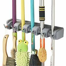 details about esup mop and broom holder organizer wall mounted your closet with limited space