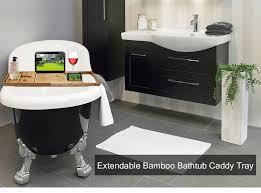 luxury extendable bamboo bathtub caddy tray for mug cellphone tablet pc