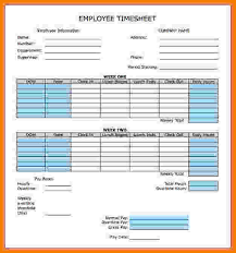 Biweekly Timesheet Calculator With Lunch Break Bi Weekly Time Card