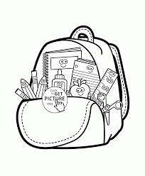 Small Picture Cartoon School Supplies coloring page for kids back to school