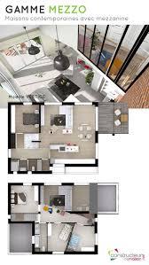 maison d architecte avec mezzanine au style très contemporain 120m2 grande pièce de vie 4 chambres 2 salles de bain et garage modèle de maison et plans