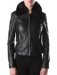 women 039 s cleva shearling collar leather jacket