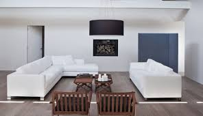 Glamorous Living Room Design with Drum Lamp Shade on Ceiling also White  Sofas aldo Wooden Table also Painting on Wall Photos Gallery