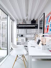 Clean white small home workspace gallery