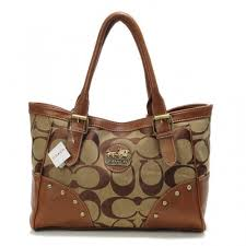 Coach Stud In Signature Medium Camel Satchels BUE