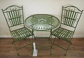 wrought iron garden furniture antique. french ornate antique green wrought iron metal garden table and chairs bistro furniture set