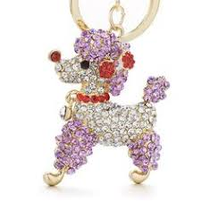 Lovely Poodle Dog <b>Bowknot Crystal</b> Rhinestone <b>Keychain</b> - 4 Colors ...