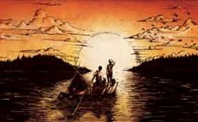 of beginnings and endings huck finn and tom eliot essay  huck finn and jim on the mississippi drawing