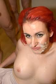 We Love Bukkake Elise Bright Red Haired Chick Eats Cum Redhead.