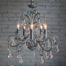 antique 5 light wrought iron blue crystal chandelier intended for contemporary residence wrought iron and crystal chandelier prepare