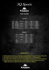Kappa Size Chart 3q Size Guide 3q Sports Teamwear Ltd