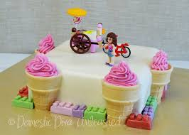 Lego Friends Ice Cream Themed Birthday Cake Cup Cakes Domestic