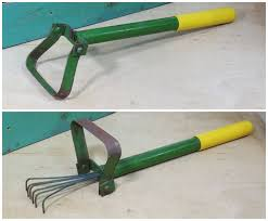 garden hand tools. unusual hand scuttle hoe with retractable 6 tine rake inside . metal farmhouse garden tool tools