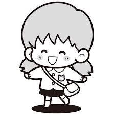 園児服の女の子白黒イラスト 無料イラスト素材素材ラボ