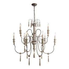 9 light persian white wood french country chandelier