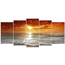 wieco art grand sight extra large 5 panels modern landscape artwork hd seascape giclee canvas prints sea beach pictures to photo paintings on canvas wall  on amazon beach canvas wall art with amazon sunset beach print on canvas beach canvas prints