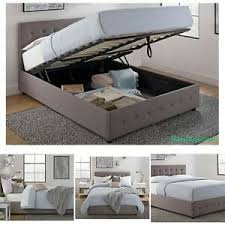 Details about NEW Full Size Bed Frame With Shoe Storage Tufted Headboard Linen Gray Platform