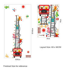 Ladder Height Chart Fire Truck Aerial Ladder Height Measurement Wall Sticker Kids Boys Room Nursery Growth Chart Wall Decal Cartoon Animal Wallpaper