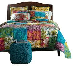 Eclectic Quilts and Bedspreads For Your Home   Houzz & Tache Home Fashion - Colorful Flower Power Party Quilt, 3-Piece Set,  California Adamdwight.com