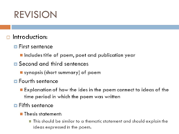 revising and editing poetry essay  introduction  first  introduction  first sentence includes title of poem poet and publication year 