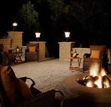 Decorations:Classic Outdoor Patio With Traditional Lighting Idea Using  Pillar Lamps Also Iron Lantern Classic