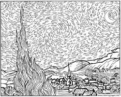 Small Picture Starry Night Coloring Page Van Gogh Starry Night Famous Paintings