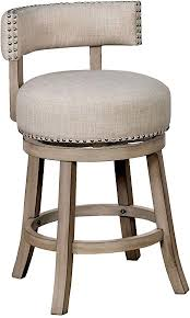 Benjara BM204042 <b>Brown</b> and <b>Beige Wooden Bar</b> Height Stool with ...