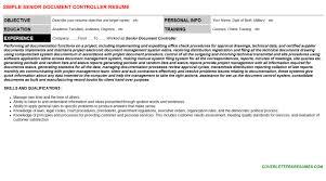 Senior Document Controller Resume Cover Letter Cv Letters