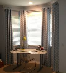 curtains for home office. Contemporary Home Office With Stylish Bay Windows And Printed Curtain Curtains For E