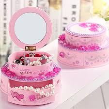 Girls Kids Beautiful Birthday Cake Shape Musical Jewellery Box