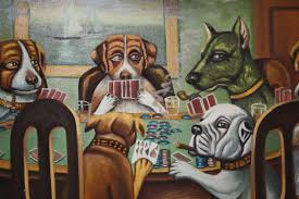 fabulous original oil painting of a familiar theme dogs playing for with dogs playing cards