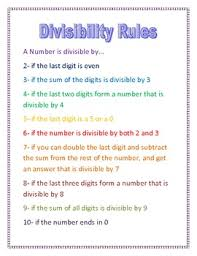 Divisibility Rules Chart Divisibility Rules Printable