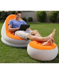inflatable lounge furniture. Bestway Inflatable Relaxing Single Air Chair \u0026 Foot Rest Lounge Seat Sofa Furniture T
