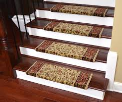 dean flooring company has tape free pet friendly stair gripper carpet stair treads in classic keshan navy blue in stock