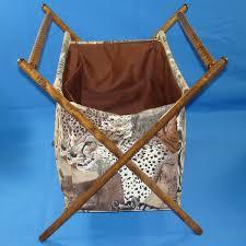 safari folding fabric sewing knitting crochet basket tote bag wooden frame vintagetoys com item 29900