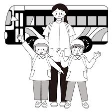 かわいい遠足 バス と子供と先生無料 白黒 モノクロ イラスト
