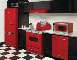 Modern Kitchen Design With Red Kitchen Stove Appliances, Black Painted  Kitchen Cabinet, And Black