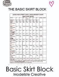 Basic Skirt Block Sizes Uk 6 18 Usa 2 14 Eu 34 36 Sloper Modeliste Creative
