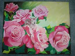 details about gorgeous pink roses flowers fawn deer doe botanical nature garden oil painting