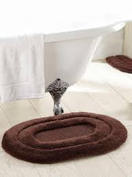 obsession brown polyester oval bath rug