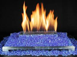 blue fire glass ventless gas fireplace