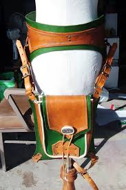 picture of steampunk leather thigh bag with ranger style belt