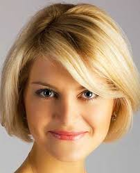 short bob hair idea with fine bangs for over 40