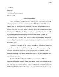 A reflection paper is an essay that focuses on your personal thoughts related to an experience, topic, or behavior. Networking Reflection Paper By Laura Wyatt Issuu