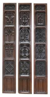 three reclaimed english carved oak wall