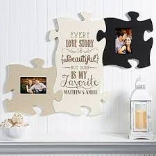 wall puzzle piece frame collection you can keep adding as many frame pieces as you d like and you can personalize it for free with the couple s names