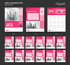 pink desk calendar 2018 vector template