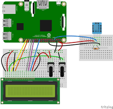 how to set up the dht11 humidity sensor on the raspberry pi four pin dht11 lcd output