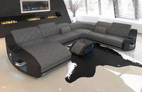 Details About Sofa Wohnlandschaft Swing Xxl Couch Ottomane Ledersofa Schlaffunktion Grau Led