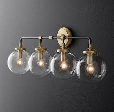 funky bathroom lighting. rh modernu0027s bistro globe bath sconce 4lightinspired by 1940s industrialism our funky bathroom lighting b